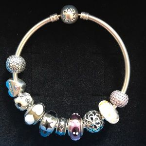 Beautiful Pandora Bracelet with 9 Charms